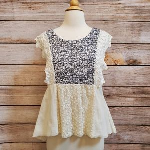 Anthropologie White Embroidered Gauzy Babydoll Top